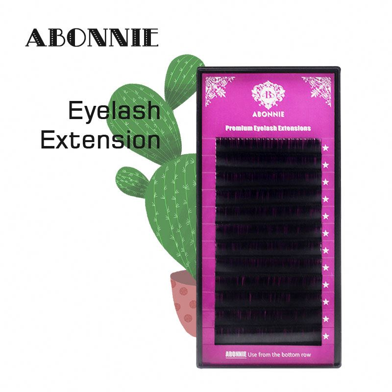Real Soft Faux Mink Lash Glossy / Matte Ellipse Flat False Eyelash Extensions Individual Lash Abonnie eyelash extension