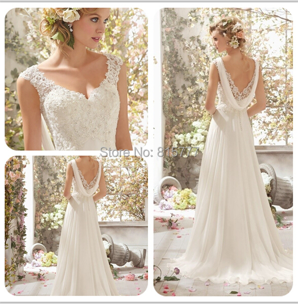 Simple Long A Line Cap Sleeve Train Lace Wedding Dresses: Gorgeous A Line V Neck Cap Sleeves Lace Top Chiffon Long