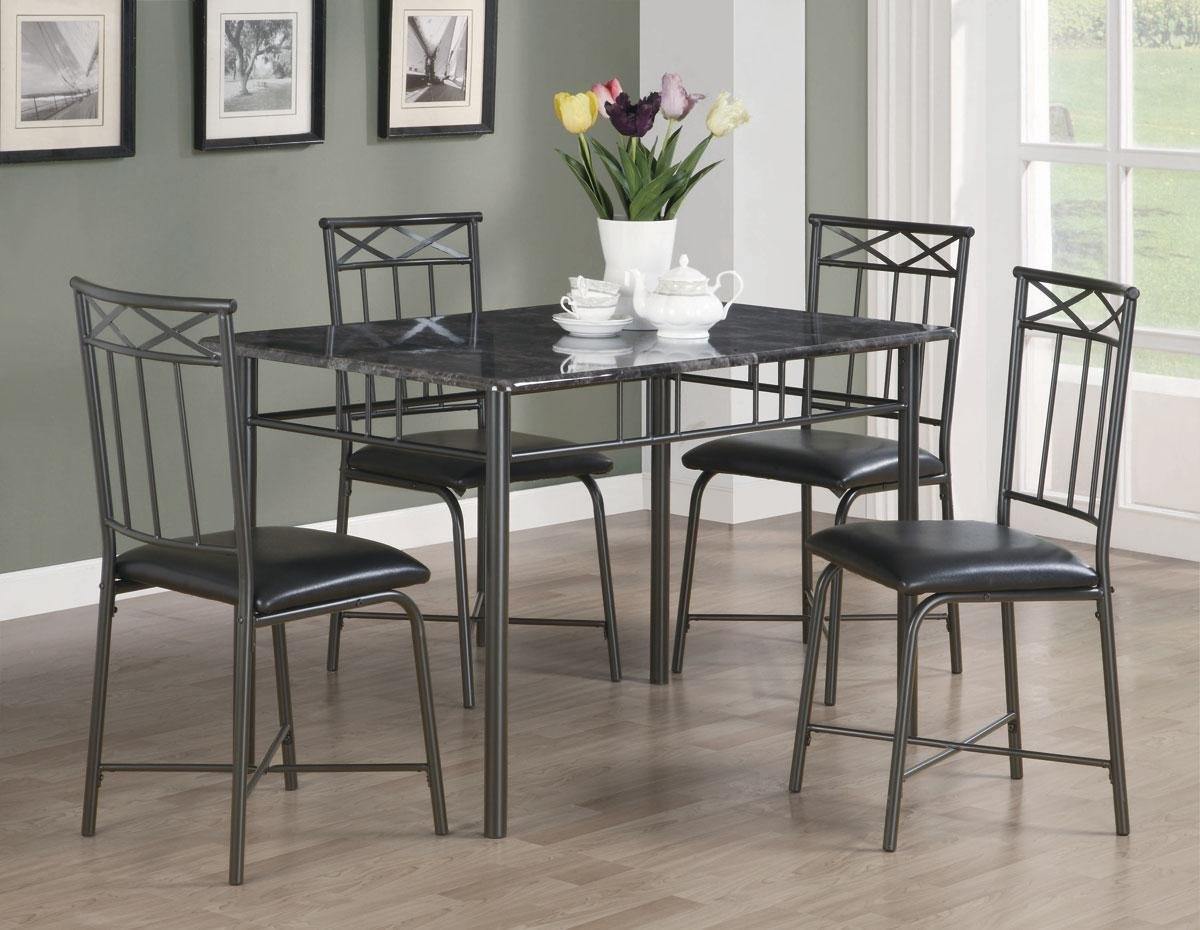 5pc Dining Table and Chairs Set with Faux Marble Top in Black Finish