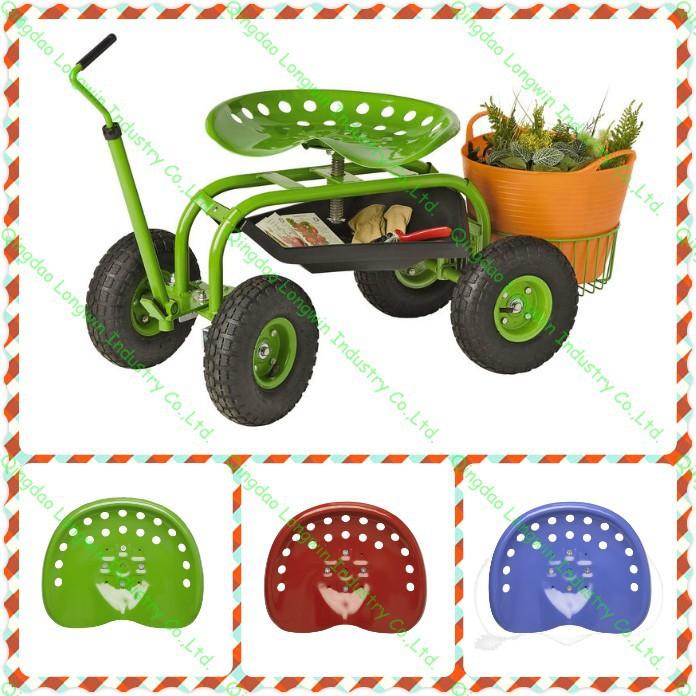 Elegant Garden Tool Deluxe Tractor Scoot With Bucket Basket