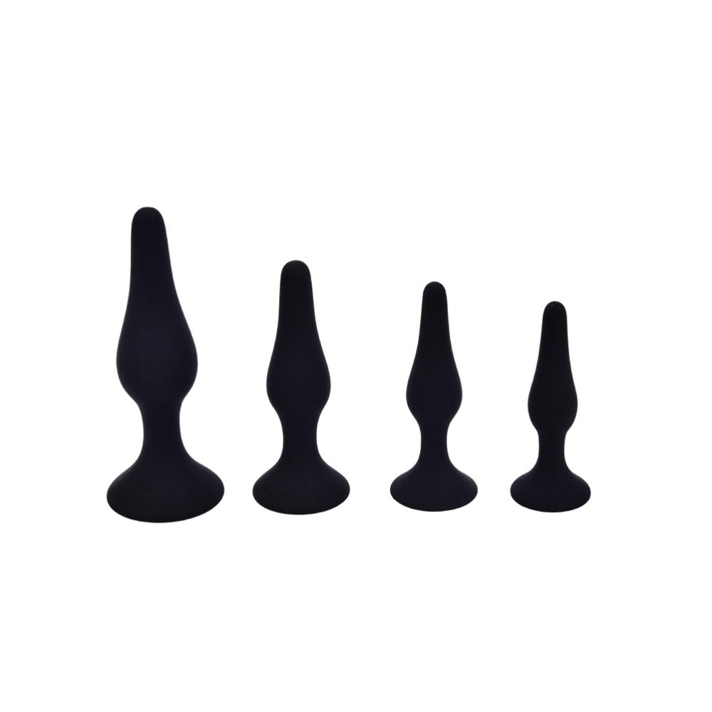 4 Size Black Silicone Anal Toys Butt Plugs Suction Cup Anal Sex Toys for Men Gay Woman Sex Shop