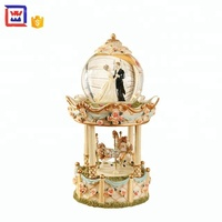 snow crystal ball wedding snow globe music box Carousel water globe for sale