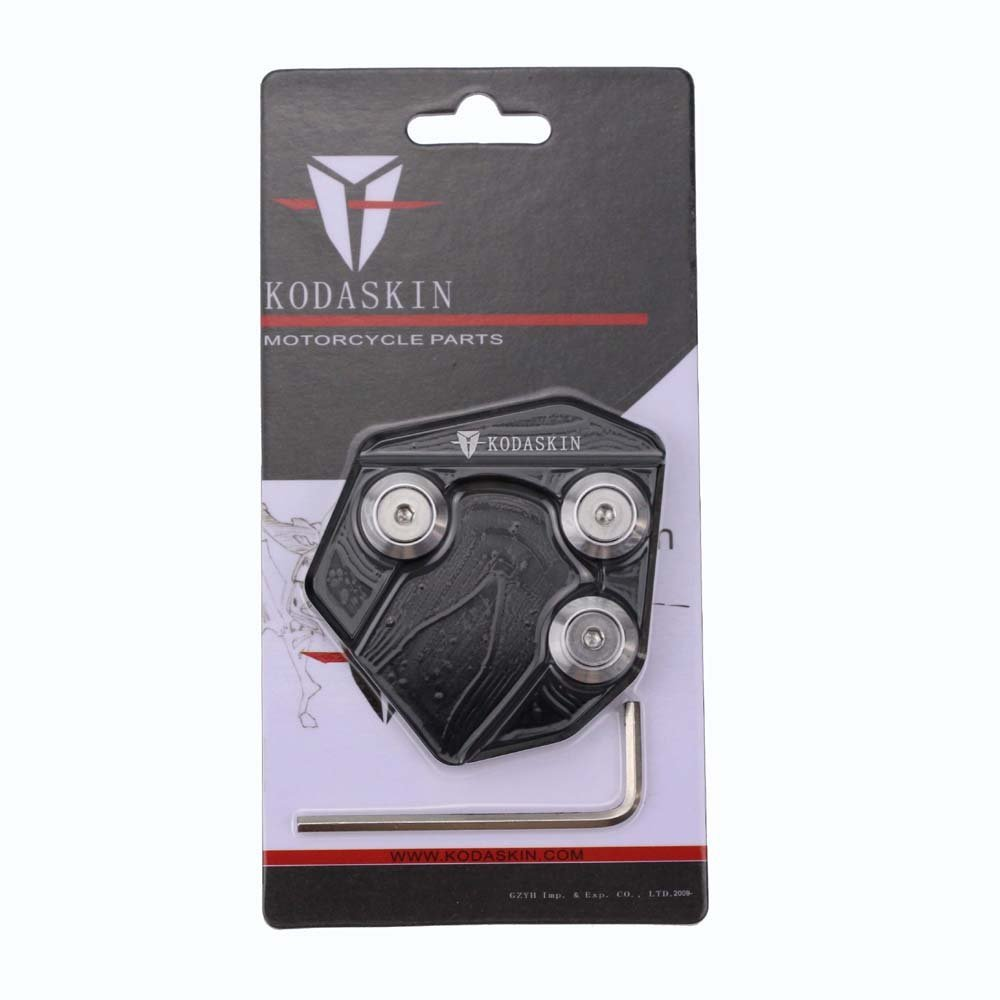 PRO-KODASKIN Motorcycle CNC Aluminum Side Stand Enlarge for Yamaha SMAX155 (Black)