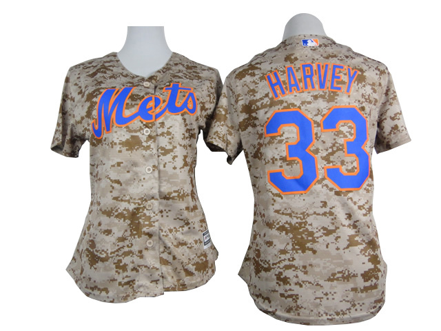 Get Quotations · 2015 New York Mets  33 Matt Harvey Women Baseball Jersey  Camo Sand Embroidery Sewing Stitched 16f19b393