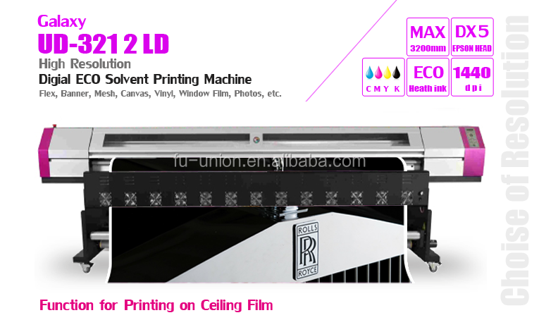 1,6 m / 1,8 m / 2,1 m / 2,5 m / 3,2 m DX5-Kopf Drucker Galaxy Eco Solvent Printer