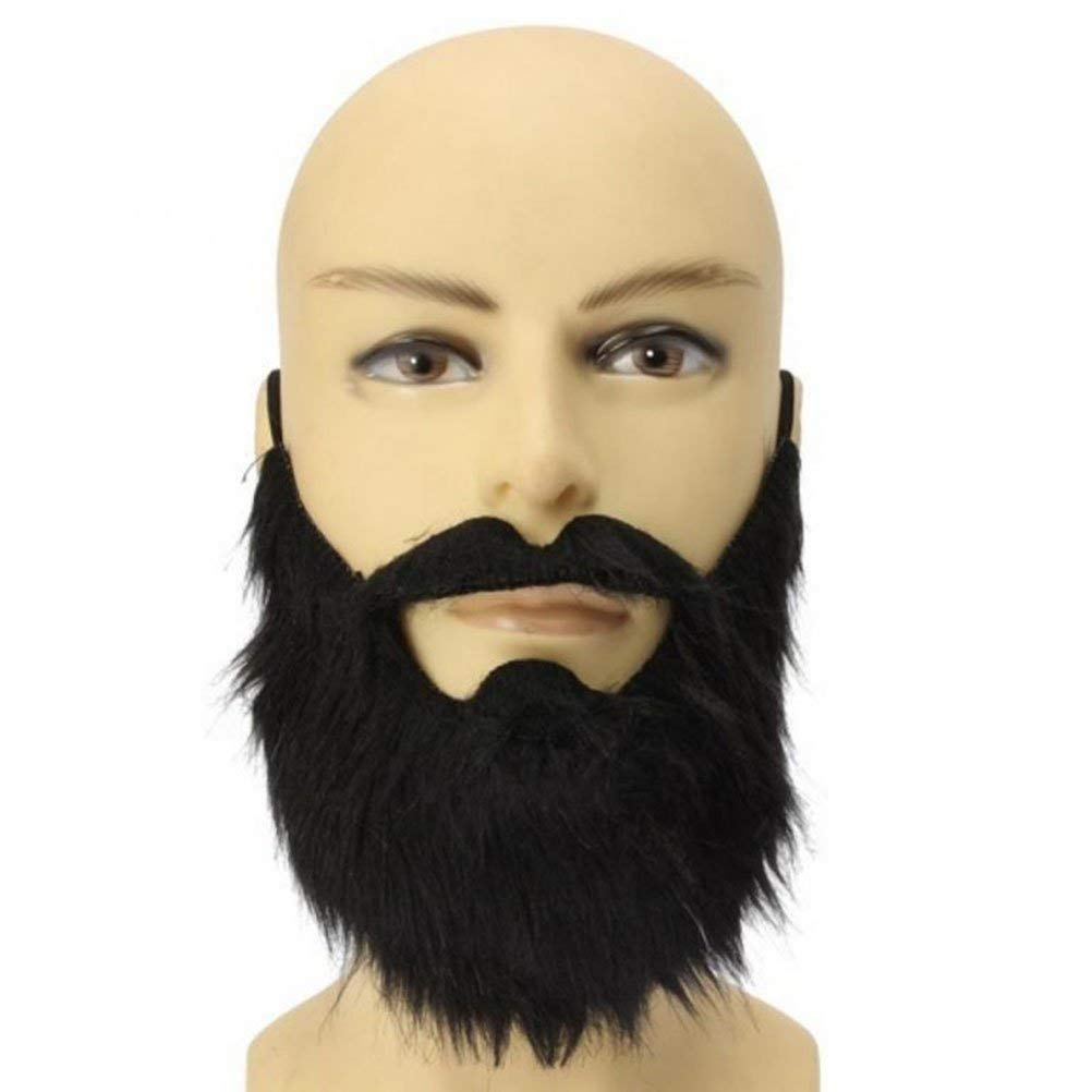 122111a88ed Get Quotations · LUOEM Fake Beard Black Bearded Man Funny Mustache Costume  Party Fake Mustaches Whisker Festival Supplies