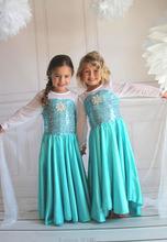 2016 Hot Sell Elsa Anna Girls Princess Children Dress Party Cloth Vestidos Infants Dress Summer Baby Kids Custom Cosplay Dresses
