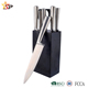 Hot sell 3Cr13 stainless steel kitchen knife set hollow handle with rubber wooden block