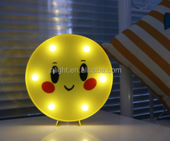 Emoji Sign Funny Led Table Lamps Night Lights For Children Kids Bedroom Wall Decor Battery Operated