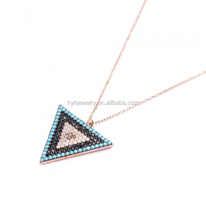 Factory Fashionable Turkish Rose Gold Turquoise Triangle Charm Antique Necklace Jewlery