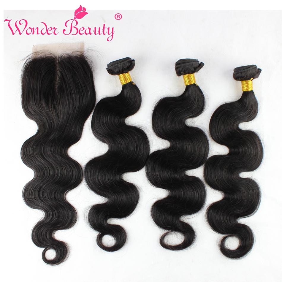 Brazilian Body Wave Hair With Closure 3 Bundles Wonder Beauty Virgin Human Hair With Free Part