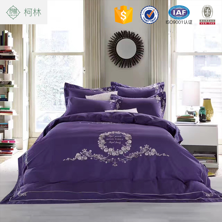 Home textile sexy purple flower custom printed bed sheet sets