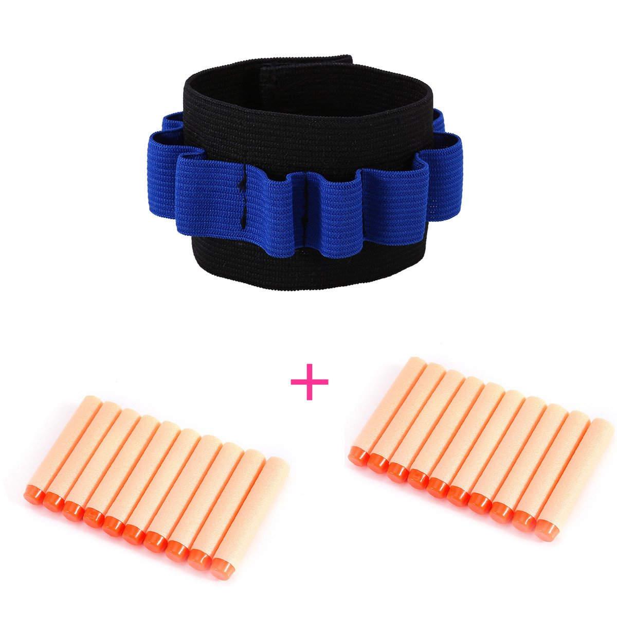 Kids Elite Tactical Bullet Dart Ammo Storage Wrister Wrist Belt Band Strap+ 100pcs 7.2cm Elite Tactical Orange Refill Soft Foam Bullet Darts for Nerf N-strike Elite Series Blasters Toy Gun