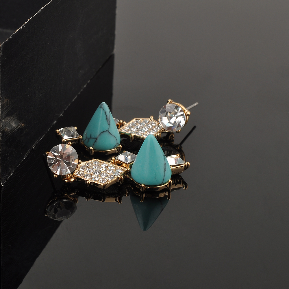 Wholesale Unique Jewelry Turquoise Stone Gold Plated Zircon Women Gemstone Earring