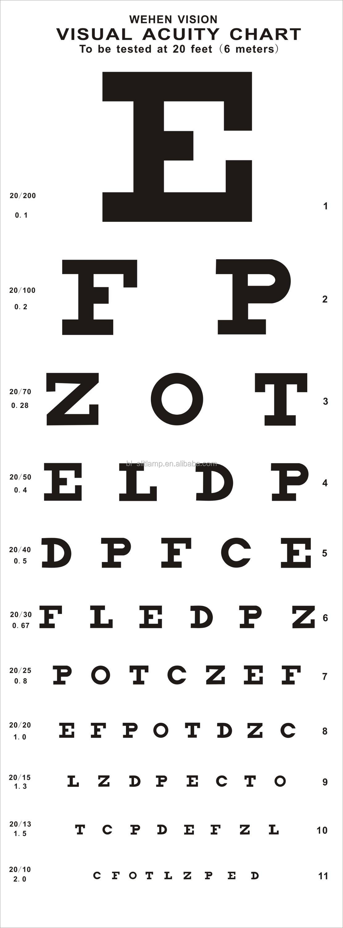 Chinese Optical Ophthalmic Snellen Chart Vision Test Visual Acuity