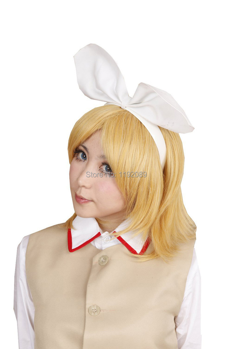 Cheap 14 inches Short Straight Blonde Anime Cosplay Wig Lolita And Beautiful Vocaloid Kagamine Rin Synthetic Hair Wigs