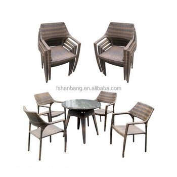 2016 New Outdoor Resin Wicker Stackable Coffee Shop Tables