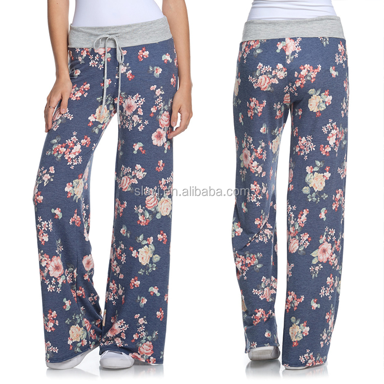 palazzo pants women latest new design ladies trousers custom casual navy pink floral print chino pajama lounge pants for women