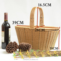 Handmade Plastic Woven Wicker Hamper picnic basket with lid