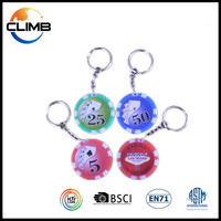 2016 Promotional Gifts Fashion high quality custom ABS custom poker chip keychain with multicolors logo keychain publicity gift