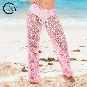 Custom Made Women Elegant Pink Lace Cover-Up Beach Pants