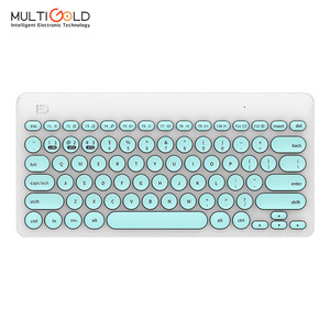 Shenzhen computer accessories colored multimedia 2.4g wireless silent multi device keyboard with round keys cap