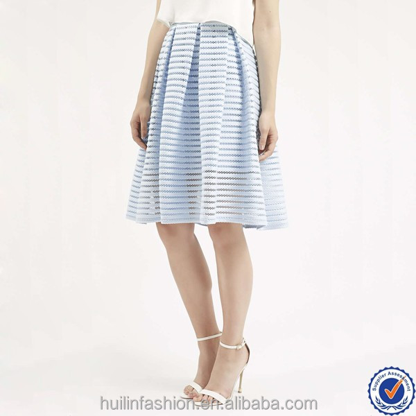 fashion airtex striped women candy blue prom skirt oem clothing factory long net skirt for women