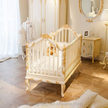 WY108 Luxury golden baby bed crib wooden design royal baby princess ...
