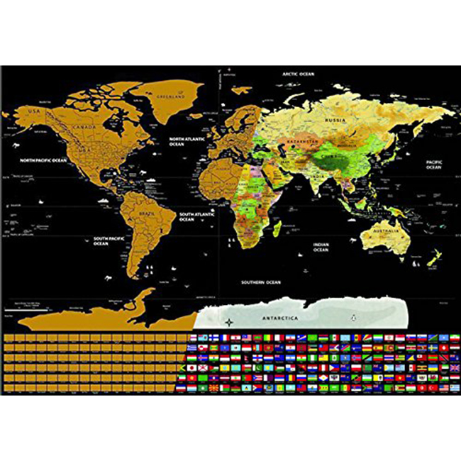 Scratch off World Travel Poster Mappa Su Misura Mappa di Plastica In PVC Scratch Map con Bandiere Nazionali