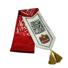 Sports Souvenir cheap promotional santin UAE printing scarf with tassel UAE national day silk scarf
