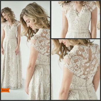 2014 Lace Back Wedding Dresses A Vintage Inspired Lace Back