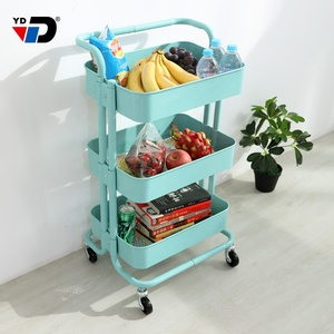Factory folding  movable furniture supply steel metal material kitchen storage trolley with 3 tier rolling