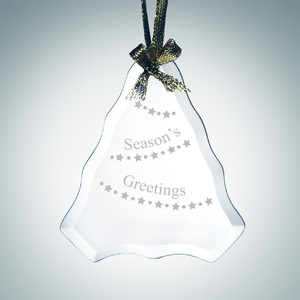 Hanging Glass Christmas Tree Shaped Ornament Customized Seasonal Decorations