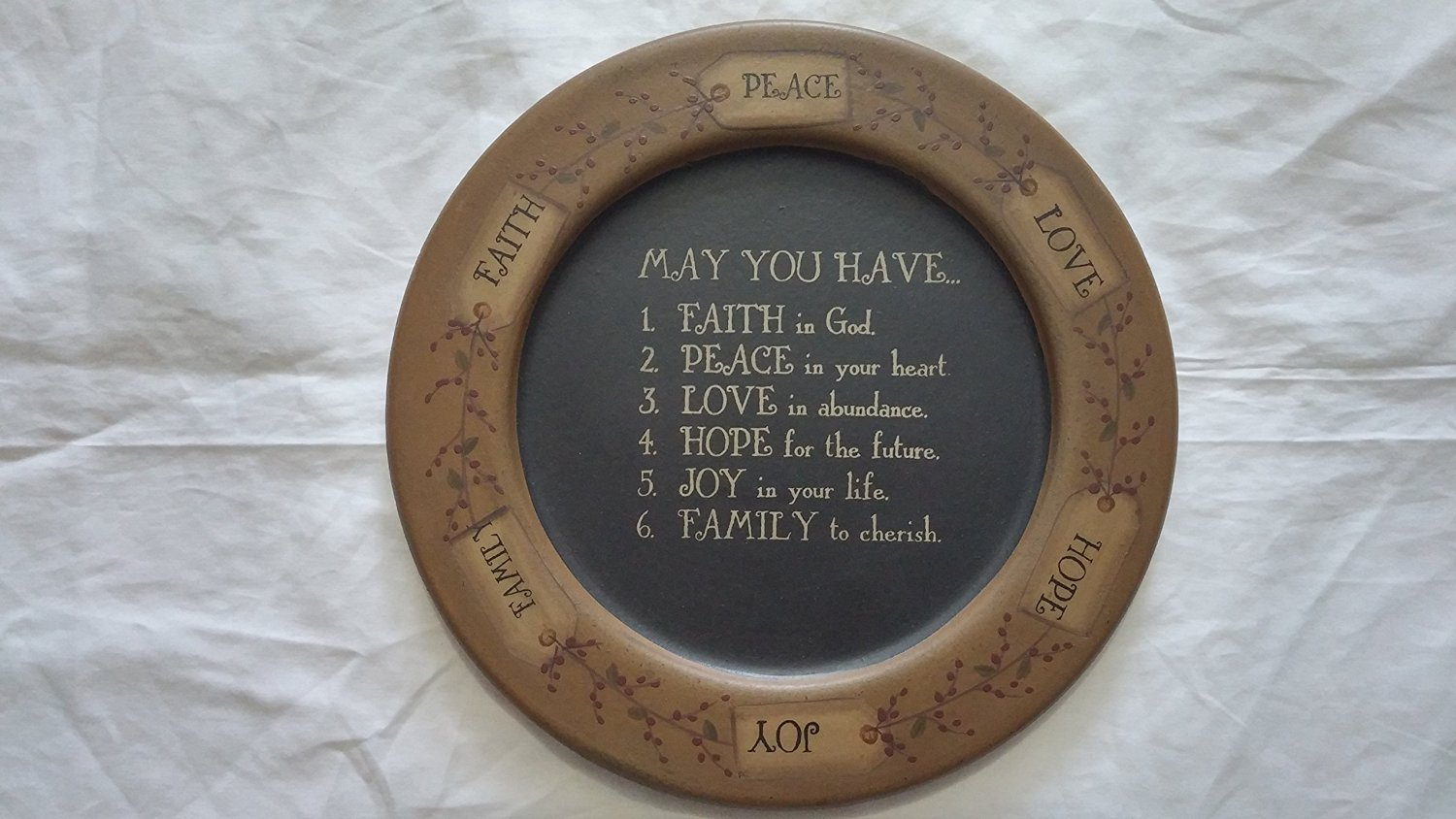 """Carved """"May You Have"""" Tag & Berry 11 1/2"""" Plate Garland, Decorative,"""