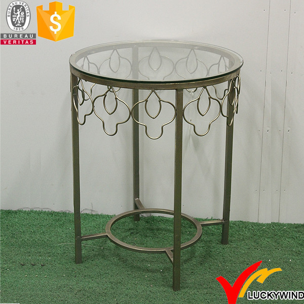 Small Glass Top Round Golden Wear Metal Vintage Bar Table