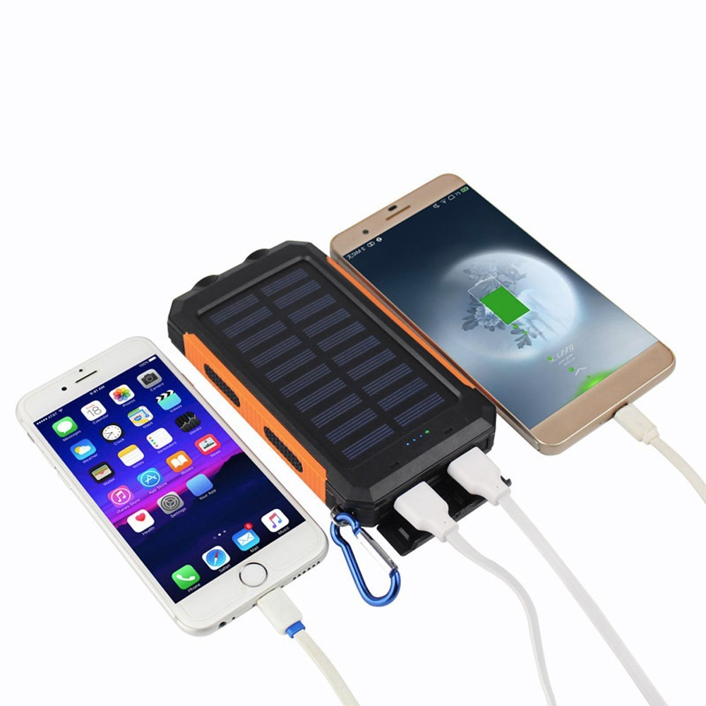 solar portable external backup charger 8000mah compact power bank