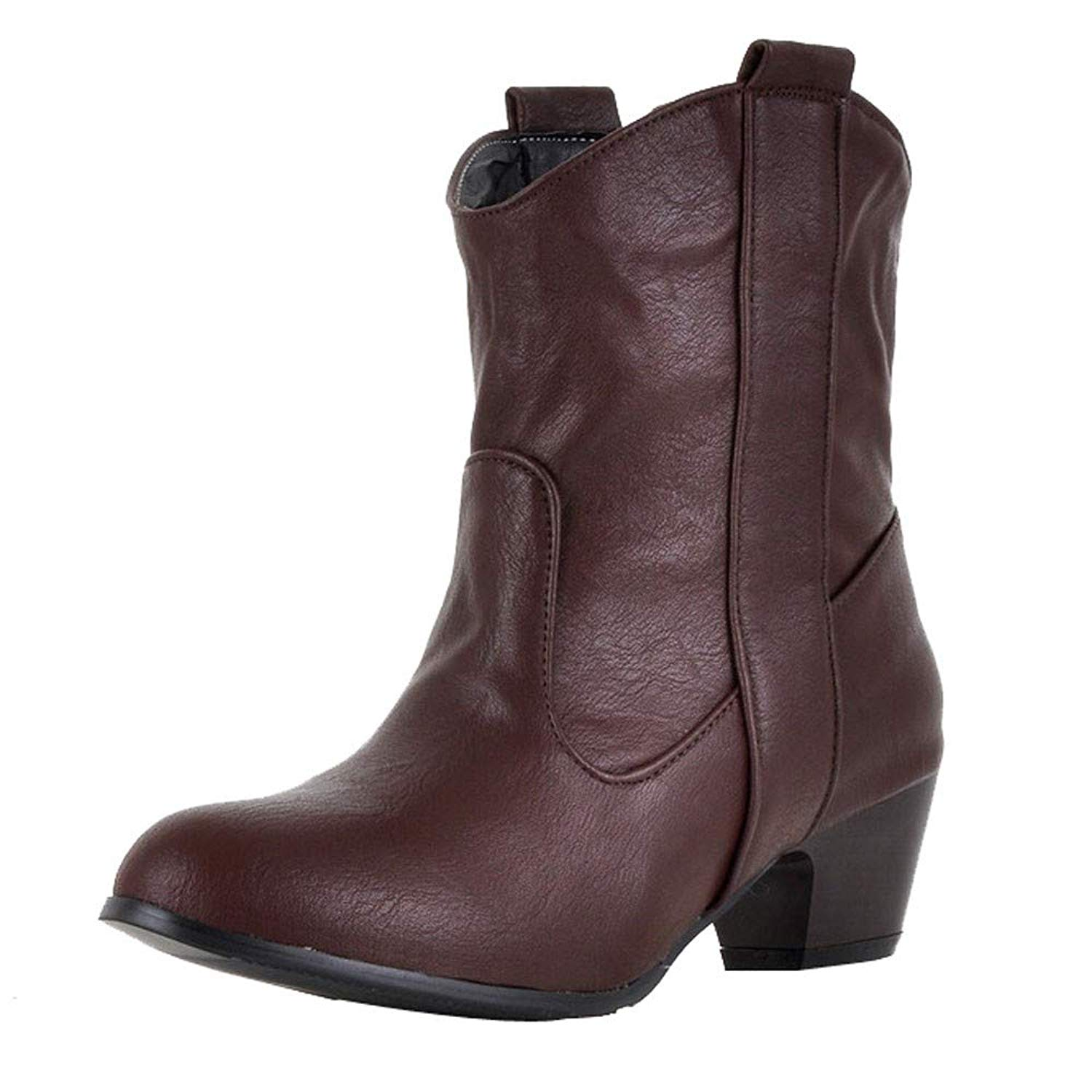 Aurorax-shoes Womens Leather Low Boot High Heel Shoe Cowboy Style Ankle Boots Size 5.5-9.5