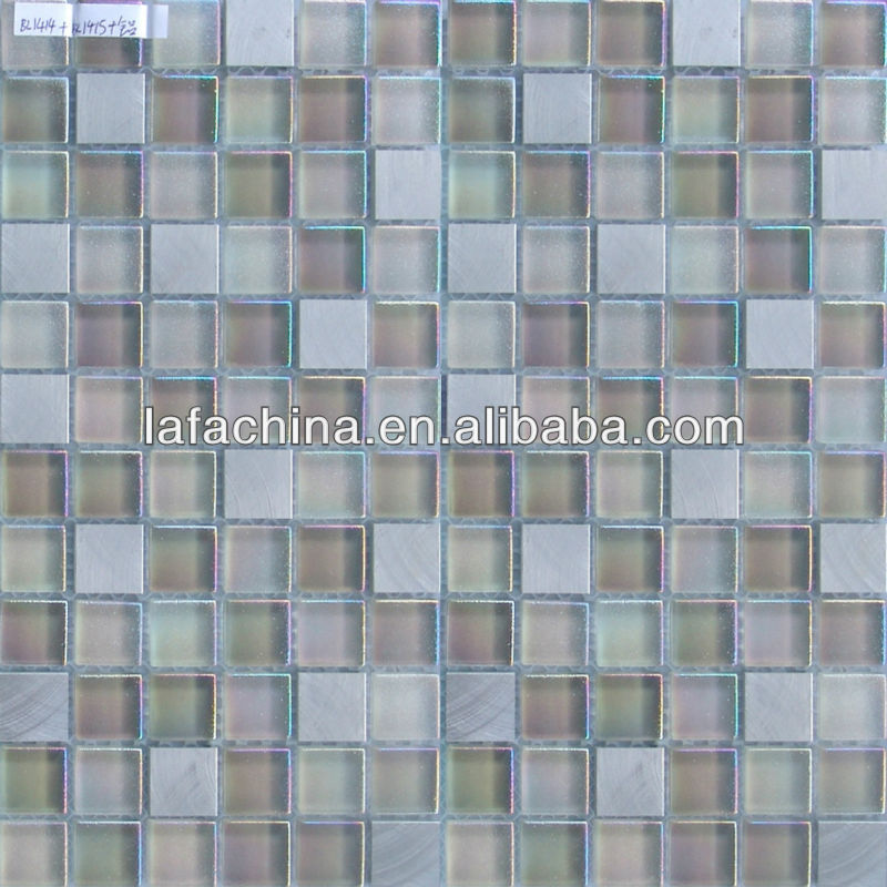 Dream like crystal glass mosaic and marble mosaic tile pattern