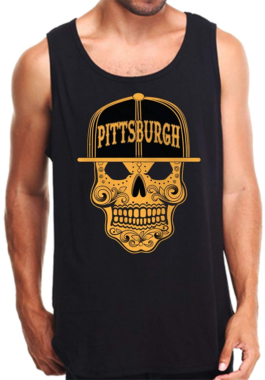 CaliDesign Men's Pittsburgh Sugar Skull Tank Top Pitt