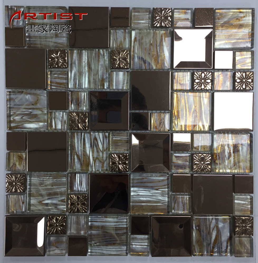 Supply Glass Mosaic Wall Decoration Kitchen Backsplash Square Shape  Decorative Metal Stainless Steel Mosaic For Wall&floor - Buy Mosaic For ...