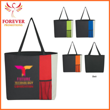 "High Quality Customized Logo Print 18"" Polyester Shopping Tote With Front Pocket"