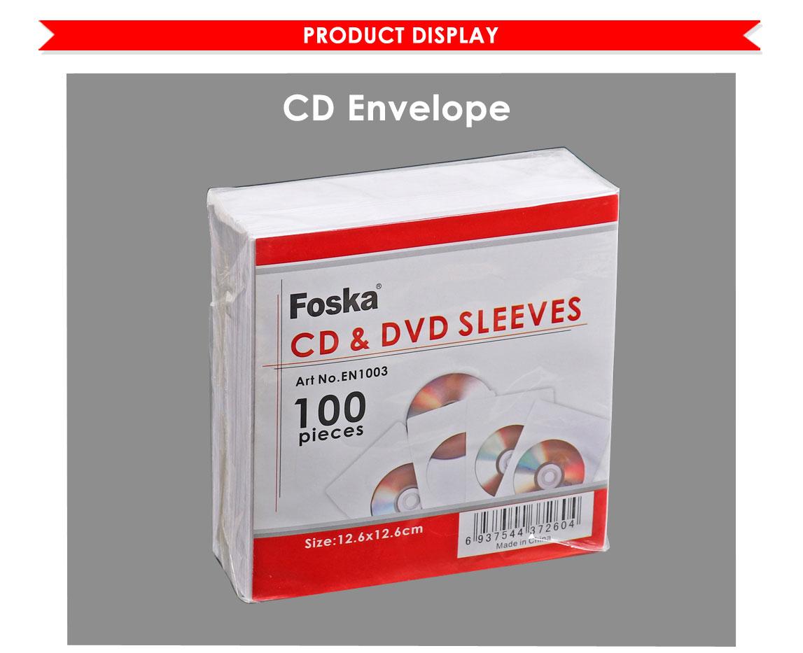 Foska Hot Sale 80 Gsm Kertas Putih Kosong Cd Dvd Case Amplop Tempat