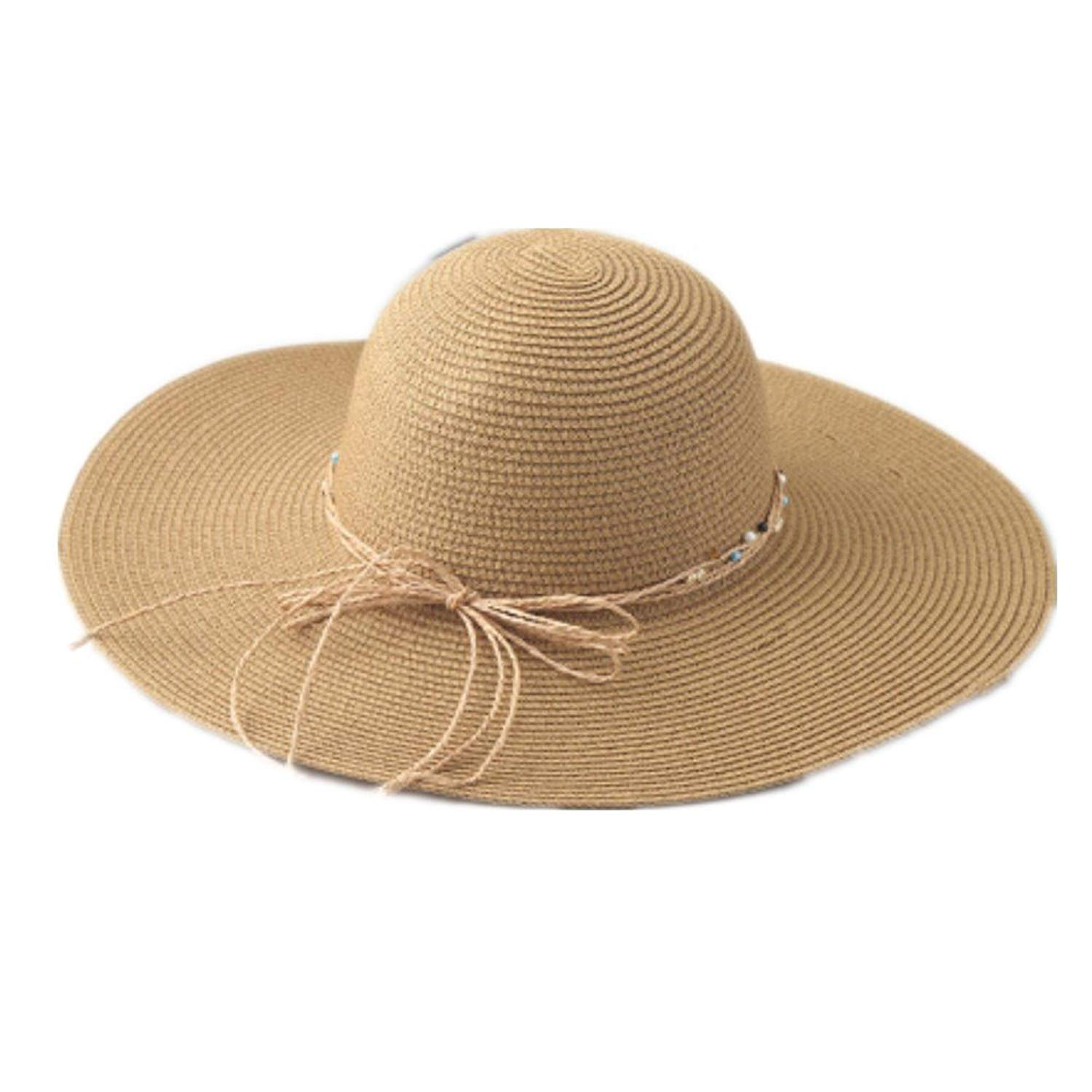 Get Quotations · tNtekj Summer Women Large Brimmed Wide Straw Hats Packable  Beach Hats c6cb2329f5f2