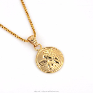 Wholesale gold pendant designs men angel pendant big circle pendant design  P627G