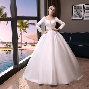 Zh2220g Noble High Quality Satin Princess Ball Gown Wedding Dresses Long Sleeves Muslim Bridal Gown Buy China Wedding Gown Arab Muslim Wedding Dress