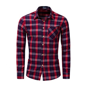 100% cotton man clothing turn-down collar red plaid long sleeve casual t shirt with good price