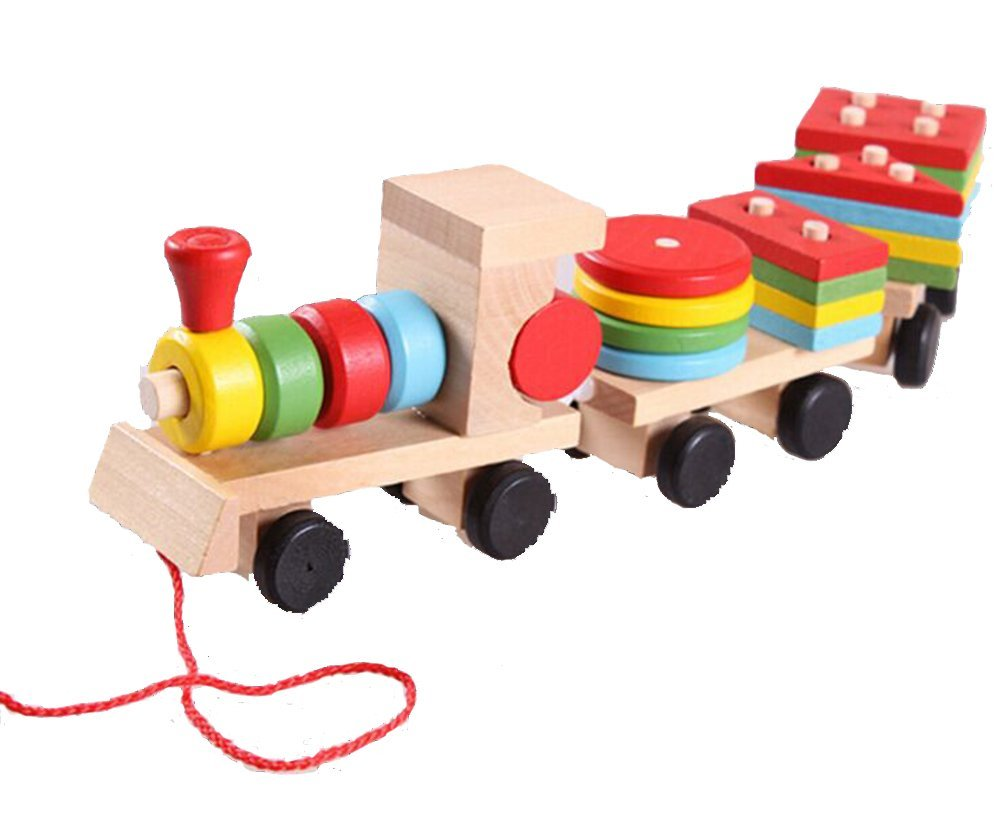 Cheap Educational Toys : Buy bestwoohome wooden kids stacking train pull along shapes puzzles