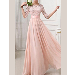 Latest Design Fashion Chiffon Long Sleeve Pink Wedding Fashion White Long Maxi Dress
