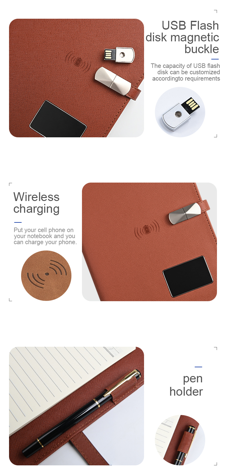 Wholesale A5 Wireless Charging Diary With 16Gb Usb Flash Drive Leather Powerbank Notebook