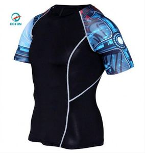 Custom Full Sublimation Printing Compression Shirts Short Sleeve Women